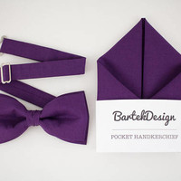 Ultra Violet Matching Set Bow Tie Pocket Square Purple Bow Tie Purple Handkerchief Wedding Set for Men Groomsmen Bow Tie Mens Gift Hankie
