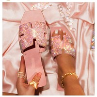 Summer new H-shaped diamond flat shoes women's slippers sandals