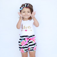 Girls 2nd Birthday Outfit | Black and White Striped Floral High Waisted Bloomers with Gold Two and Hot Pink Heart w/ Arrow |2nd Birthday set
