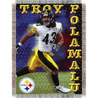 Troy Polamalu #43 Pittsburgh Steelers NFL Woven Tapestry Throw Blanket (48x60)