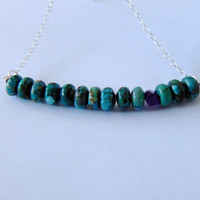 Natural Turquoise Necklace - Amethyst Crystal - Sterling Silver - Dainty - Layering Necklace - Raw Gemstone - Bar Necklace