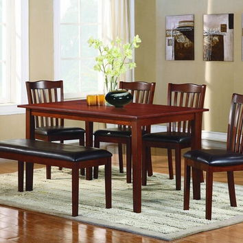 Home Elegance 2513 6 pc schaeffer collection warm cherry finish wood dining table set with upholstered seats