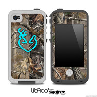 Real Camouflage V4 with Turquoise Heart Deer Logo 2 Skin for the iPhone 4/4s or 5 LifeProof Case
