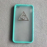 Iphone 4 Case,Harry Potter Deathly Hallows Iphone 4 Case, iPhone Case 4/4S blue color frosted translucent case