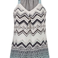 tank with ethnic patterned chiffon front in multi