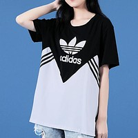 Adidas New fashion letter leaf print hit color couple top t-shirt