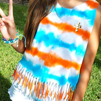 Tie Dye fringed top with gold studded cross blue orange