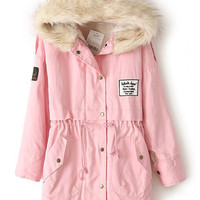 Pink Fur Hooded Fleece Inside Military Coat
