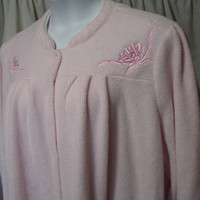 Waltz Robe, Long Sleeve, Light Pink, Plush Terry, Plus Size, 2X, XXL, Snap Front, Lounging, Winter Cozy, Earth Angels
