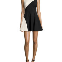 Elizabeth and James Randall Two-Tone Fit-&-Flare Dress, Black/Vanilla