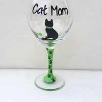 Cat Mom hand-painted wine glass