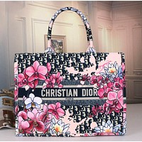 Dior new letter flower spot pattern handbag lady fashion large capacity shopping bag