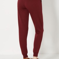 Burgundy Fleece Lined Jogger | Solid Joggers | rue21