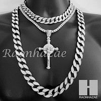 "Hip Hop Cross Pendant 16"" Choker 18"" Tennis 30"" Miami Cuban Chain 21"