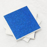 Glam Tile Coasters  in Glitter White, Light, and Dark Blue Theme with Foamed Backs (4)
