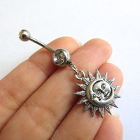 Silver Celestial Moon And Sun Belly Button Ring Navel Jewelry