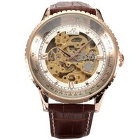 KS Royal Carving Skeleton Men's Rose Gold Case Auto Mechanical Brown Leather Watch KS113