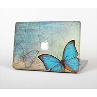 """The Vivid Blue Butterfly On Textile Skin Set for the Apple MacBook Pro 13""""   (A1278)"""