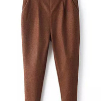 Brown Zipper Fly Trousers