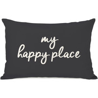 """""""My Happy Place"""" Outdoor Throw Pillow by OneBellaCasa, Charcoal, 14""""x20"""""""