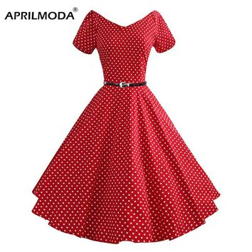 50s Summer Vintage Dress Audrey Hepburn Style Short Sleeve Polka Dot Plus Size Casual Women Retro Big Swing Rockabilly Dresses