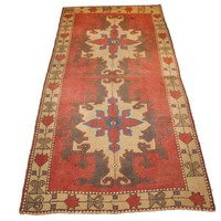 Medallion Design Handmade Rug, Tribal Rug, Oushak Carpet, 200x100 cm 79x49 inches Red Field Beige Border With Blue Acrylic