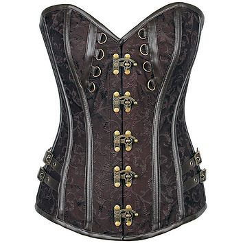 Daisy Corsets Top Drawer Brocade & Faux Leather Steel Boned Corset
