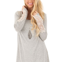 Heather Grey Tunic Top with Crochet Cuff Detail