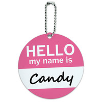 Candy Hello My Name Is Round ID Card Luggage Tag