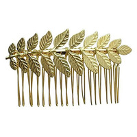 Rarelove Golden Color Leaf Hair Comb Clip Bridal Accessory For Wedding Occasions