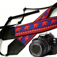 Lucky Elephant camera strap. Ethnic camera strap. DSLR Camera Strap. Camera accessories. Nikon Canon camera strap.
