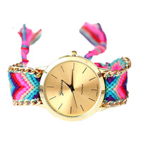 Handmade Braided Friendship Bracelet Watch New arrival geneva Hand-Woven wristwatch Ladies Quarzt