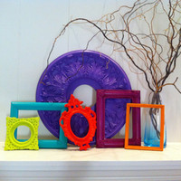 Frame Collage Funky Bright Home Decor Upcycled Vintage Style Frames Hollywood Regency Apartment Decor Quirky Decor