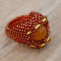 yellow jade, golden brown, sunset, seed beads, toho, gemstone ring, woven jewellery, cocktail jewelry, boho, beaded ring, beadwork, OOAK