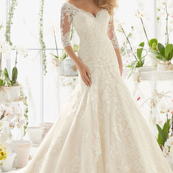 Romantic Beautiful Lace Appliques Mermaid V-Neck Wedding Dresses Half Sleeve Court Train Bridal Gown Custom