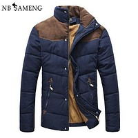 2017 New Arrival Mens Winter Jackets Men Coat Collar Stitching Faux Suede Cotton-padded Parka Anorak Cheap Clothes 2M0091