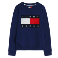Tommy Jeans 2017 summer new printed round neck sweater shirt Blue