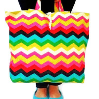 Large Roll Up Market Tote - Eco Friendly Tote -  Beach Bag - Reusable Grocery Bag - Chevron - Zig Zag - Waverly Panama Wave - Overnight Bag