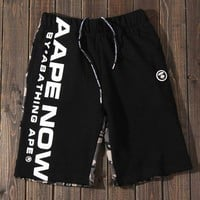 AAPE man head camouflage patchwork cotton black wool circle shorts casual style straight men's five-cent pants