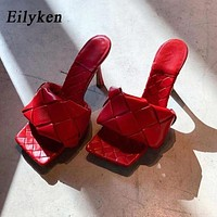 Eilyken Summer New Design Weave Square Toe Heels High Quality PU Leather Slippers Gladiator Beach Womens Sandal Slides Shoes