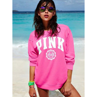 """Pink"" Victoria's Secret Letter Print Velvet  Top Sweater Pullover"