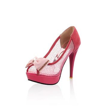Rhinestone Bow Tie Platform Pumps High Heeled Shoes 2540