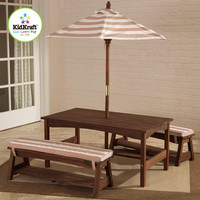 KidKraft Outdoor Table & Bench Set with Cushions & Umbrella - Espresso with Oatmeal & White Striped Fabric - 00500
