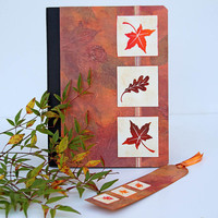 Autumn Leaves Journal Notebook with Matching Bookmark
