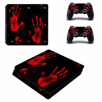 Bloody Hands Vinyl Decal Skin For playstation 4 Console +2Pcs Stickers For ps4 Controllers