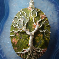 Unakite Jasper Tree of Life Pendant Agate Wire Wrapped Gemstone Druzy Crystal Yggdrasil Celtic Family Tree Necklace Red Orange Moss Green