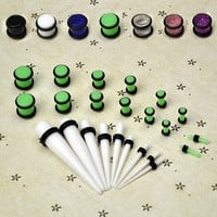 Acrylic 23pcs COLOR Ear Stretching Kit Expanding Kit Ear Taper Gauging Kit Set D_L = 1712881796