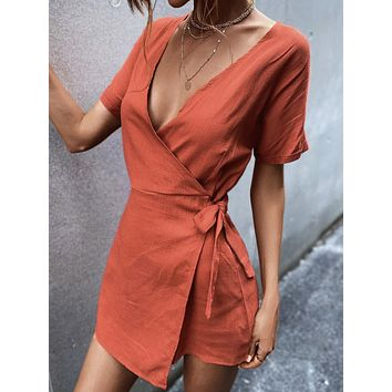 Solid Knot Side Wrap Romper