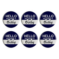 Billy Hello My Name Is Plastic Resin Button Set of 6