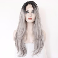 Black Ombre Grey Heat Resistant Synthetic Lace Front Wig